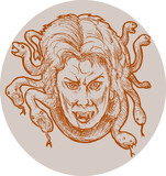 gorgon female monster Medusa of the greek Mythology poster
