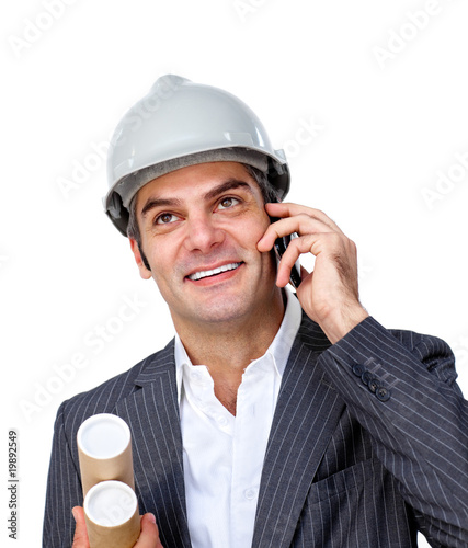 Charming male architect on phone