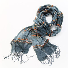 grey cotton scarf on a white background