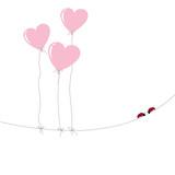 greeting card - heart ballons