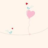 greeting card - heart ballon with birds