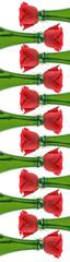 Botellas de champaña y rosas
