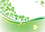 Vector background with clover leafs and shapes