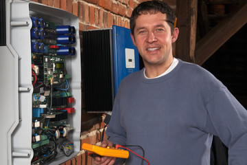 expert at the photovoltaic inverters of a solar plant 06