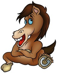 Sitting Horse- cartoon illustration