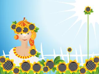 Girl sunflowers