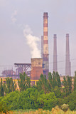 Factory with smokestacks doing air pollution poster