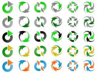 Green Environmental Recycling Vector Logo Design Elements