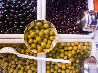 Olives in Traditional market of Vic, Catalonia, Spain