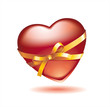 glossy Valentine's heart with golden ribbon and bow