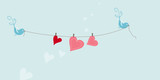 greeting card - hearts on the clothesline