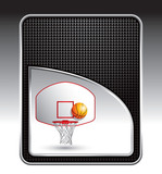 basketball goal and ball black checkered background