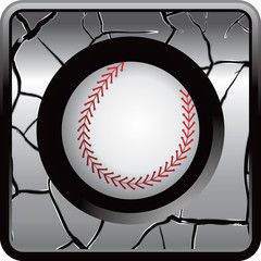 baseball gray cracked web button