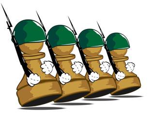 pawns at parade