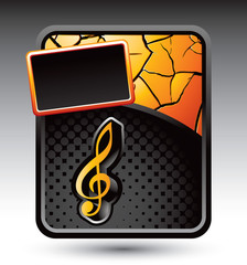 music note orange cracked template