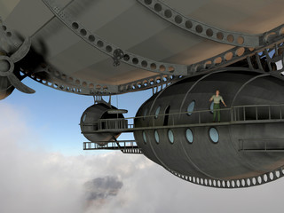 Render of a man on walkway of an airship