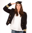 saluting girl with officer uniform