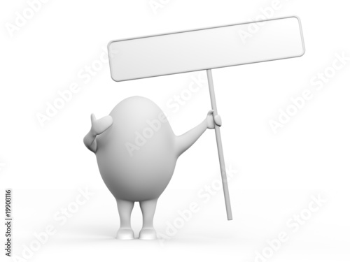 Egg Character Holidng a Sign