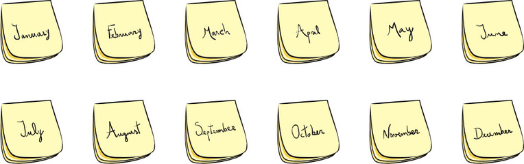 Month Post-It Notes
