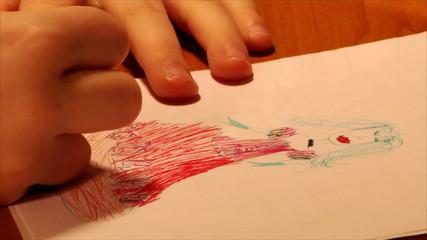 child drawing a princess