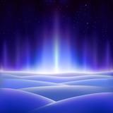 Fantastic north aurora on a dark icy planet