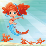 Mermaid with background. Vector mythological illustration. poster