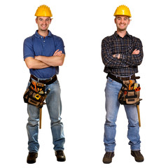 Isolated standing young worker on white background. Double versi