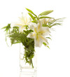 white lilies ' bunch on a white background