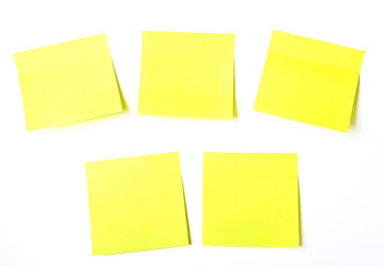 set of office related Yellow paper sticky