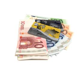 Tas de billet et cartes bancaire