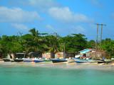 panga fishing boats with houses corn island nicaragua