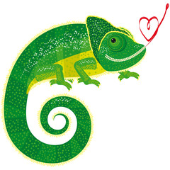 Fairytale isolated chameleon with Valentine