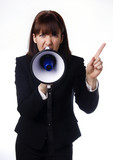Business woman holding mega phone poster