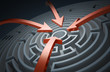 Circular maze with red arrows