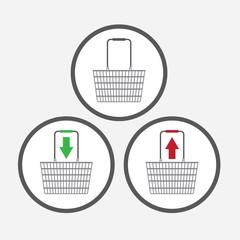 Shopping Basket symbols for e-commerce