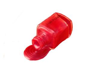 Red metallic nailpolish spill