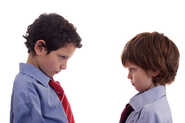 two little businessmen confronted, face to face