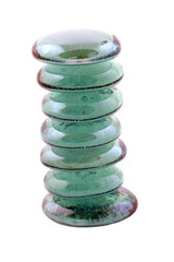 seven blue glass stones stacked on white background