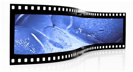 Blue ice cubes film strip