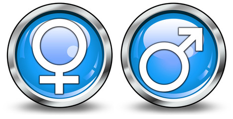 """Glossy 3D Style Buttons """"Female/Male Symbol"""""""