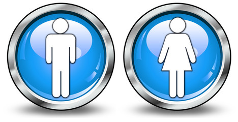 """Glossy 3D Style Buttons """"Gentlemen/Ladies"""""""