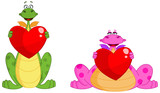 Fototapety Cute dragon couple holding hearts