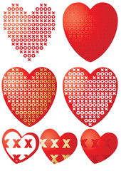 Set of XOXO hearts, vector illustration