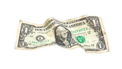 One wrinkled dollar isolated on white