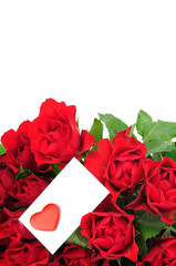 Roses bouquet and Valentine card
