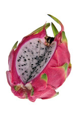 A cut dragonfruit over a white background