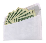 white envelope with dollars on white background isolated