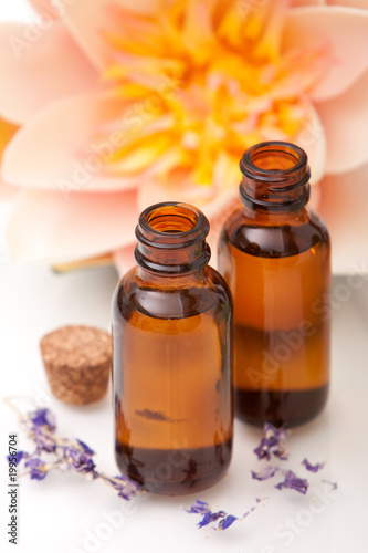 canvas print picture Massage oils and lotus flower