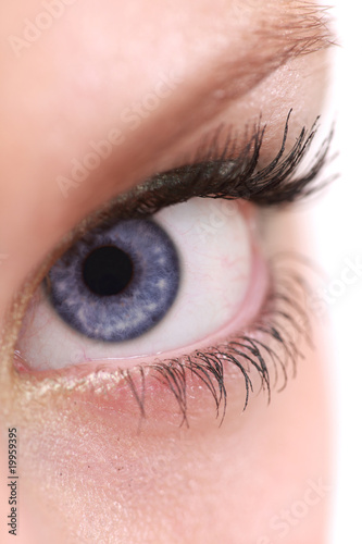 Macro shot of an eye with blue iris