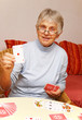 Senior with Card Game - Seniorin mit Kartenspiel